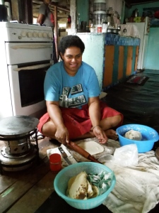 my host sister making roti