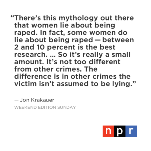 Jon Krakauer, author of Missoula on NPR